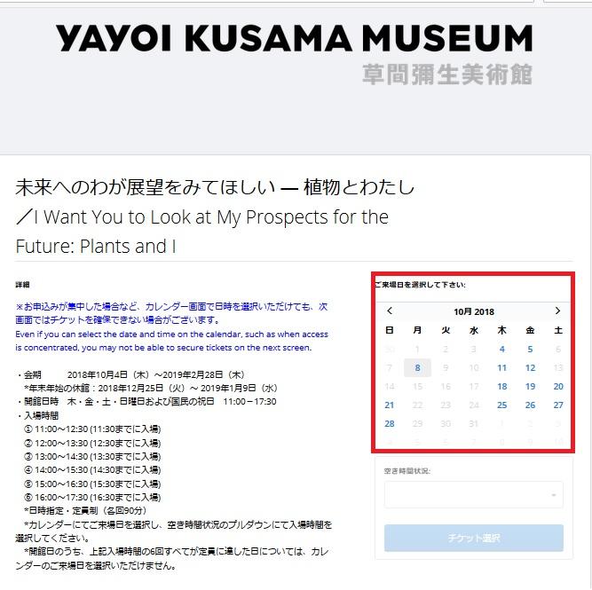 草間弥生美術館チケット購入方法④