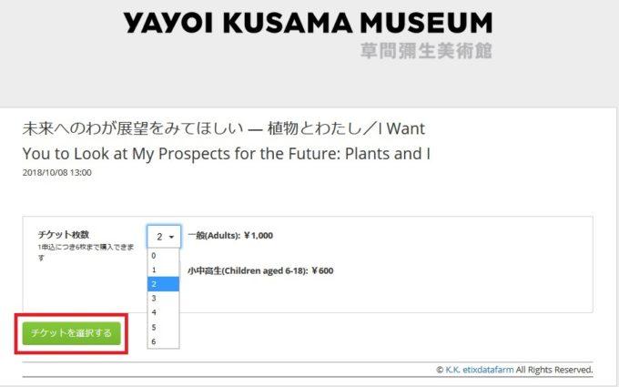 草間弥生美術館チケット購入方法⑦