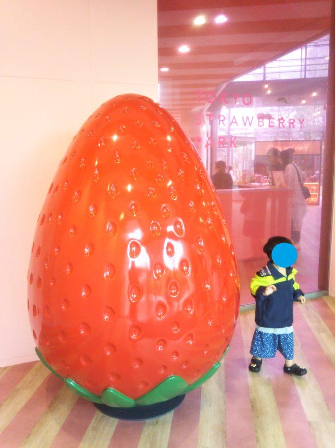 東京ストロベリーパークに入るとイチゴのオブジェに子供も大喜び