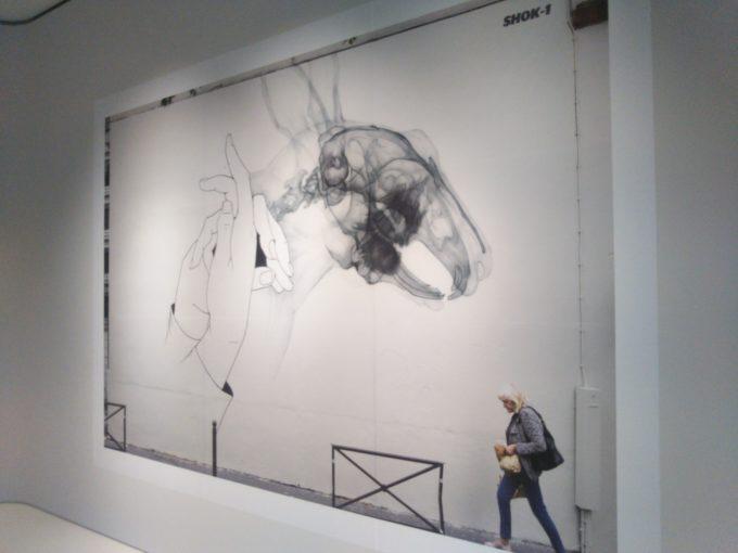 bally銀座SHOK-1の展示作品 恐竜と手話のコラボにもみえるX線の作品