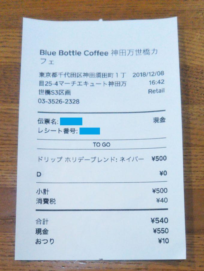 ブルーコーヒーのレシート