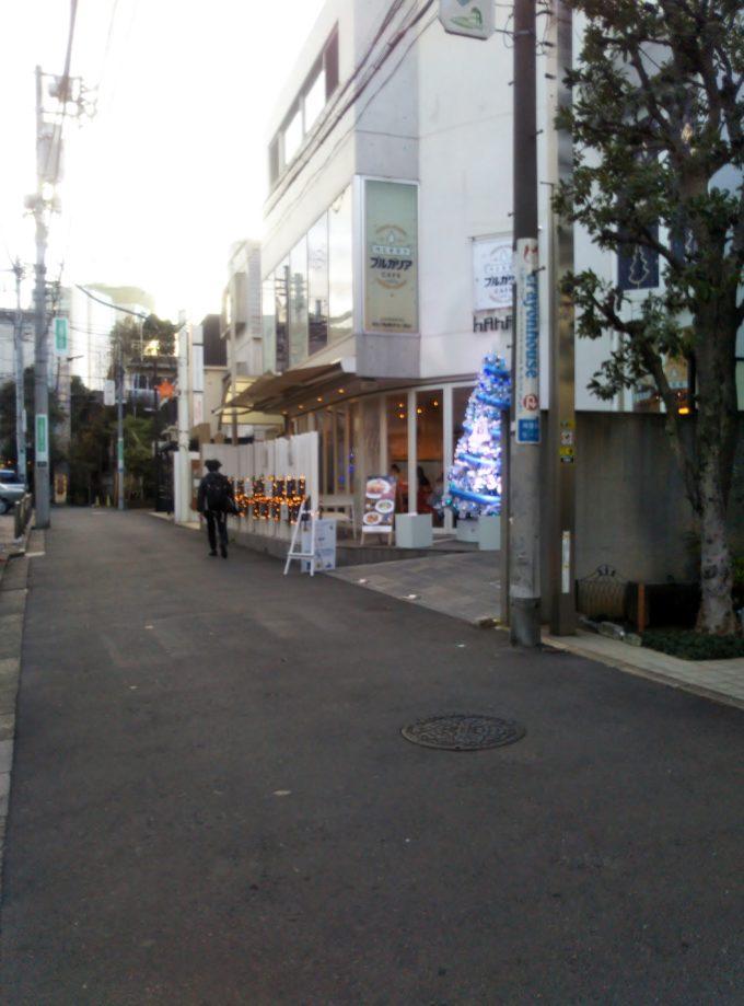 merryブルガリアカフェの入口は青と白のクリスマスツリーが目印